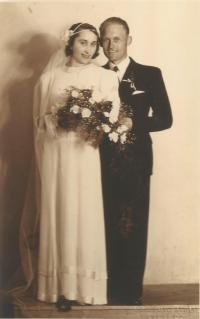 Wedding photo of Prokop's parents Prokop and Klementýna Šmirous in 1936