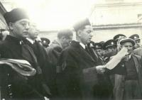 Čtení rozsudku před popravou H. Jöckela v roce 1946 ve věznici v Litoměřicích