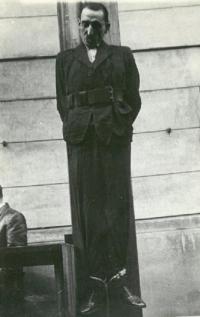 Oběšený H. Jöckel (1946, věznice Litoměřice)