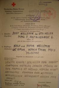 Jeden z posledních dopisů rodičů bratrům Adolfovi a Viktorovi odesílaný přes Červený kříž v roce 1942, musel být napsán němčinou