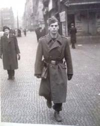 Petr Eisenberg as a soldier, Prague, 1946