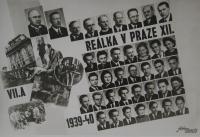 Maturitní tablo Reálky v Praze XII., Věra pod XII., Felix Kolmer v nespodnější řadě třetí zprava, 1940