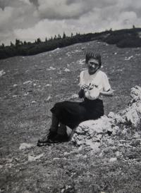 Věra on a trip in the Rax mountains in the Alps, ca. 1937