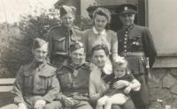 From left: Charles Muller, Albert Stockwell, Charles Wilkin, Eva and Vladimír, Pardubice, May 1945