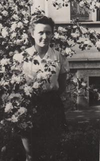 Eva Kopecka on the garden of family house