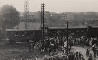 The return of President Edvard Benes to his homeland in 1945, station Pardubice