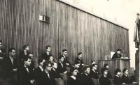 Jan Bouzek (at the back in the middle), Hana´s graduation ceremony, Karolinum, Prague 1958