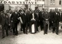 Exhibition of the Podblanicko region, Hana´s father first right, Benešov, 1935