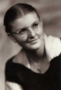 Hana in her maturita photo, Benešov 1953