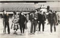 Kiril Berovski-vlevo, s kolegy na Strahově v Praze, 1976