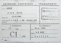Transportní lístek Miloše Picka do Osvětimi