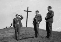 1970s - Jan Kucera (right) with collegues in military service making a trip to Radobyl