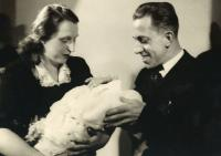 1946 - the christening of Jan Kucera, with parents
