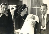 1946 - the christening of Jan Kucera, with his parents and the grandmother Terezie Horakova