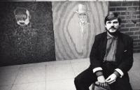 Pamětník na vernisáži svých obrazů, rok 1988