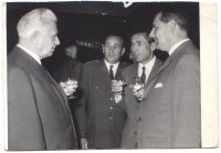 Návštěva prezidenta Svobody v Plzni v roce 1968 – zprava Jaroslav Procházka, pluk. Šmejkal, pluk. Burda, L. Svoboda
