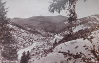 Střed obce Bohdan na Podkarpatské Rusi