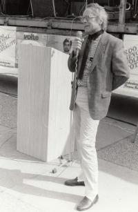 Předvolební agitace ČSS v Mladé Boleslavi, 1990