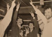 Ivan Vilim celebreting Vaclav Havel election in 1989