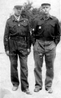 Brother František Svoboda / left / with a Slovak friend Ervin Páleš in the training camp of the French Alien Legion Sidi Bel Abbes / Alger / 1949