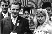 Josef Svoboda / left / as a witness at the wedding of his also imprisoned friend Ludvík Šmotka / Prague / 1963
