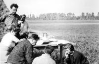 Josef Svoboda (standing left) as a technician of the Botanical Institute of the Czechoslovak Academy of Sciences in Brno for the Research of South Moravian Wetlands / 1966