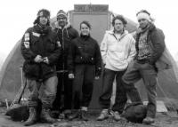 Polar researchers of the Toronto University in front of a common residential parcoll in the Svedrufo Pass on Ellesmer Island / from the left, a Swiss, Martin Raillard, Josef Svoboda and Canadians Janine Murray, Tim Thurston and Tom Daly