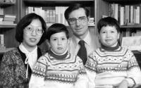 Josef Svoboda with his wife and sons / Ondřej left / Michal right / Canada / 1983