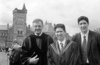 Younger son Michal on the day of his master's graduation / son Ondrej on right / Toronto university / 2000