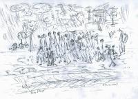 Pochod smrti, kresba Naftali Fürst
