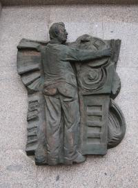 "Relief ""Modern production"" on the building of Regional Committee of Communist Party in Pilsen, author: Alois Sopr"
