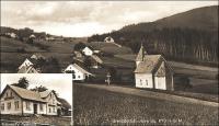 Hraničky (Gränzdorf), vpředu kaple sv. Josefa, vlevo vpředu dům Josefa Nitsche, uprostřed rodiny Cöh, nahoře vlevo dům Viléma Nitsche, úplně nahoře vpravo hájenka
