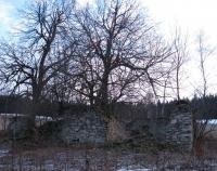 Rozvaliny domu rodiny Scholz  v obci Hraničky (Gränzdorf) zlikvidované v roce 1959-60
