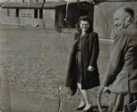 Irena Ondruchová in front of the fire police, where she worked back then (near Zábřeh in Ostrava) in 1944