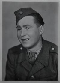 The husband of Irena Ondruchová, Tomáš Ondruch in a uniform of the basic military service in 1946