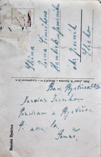 Postcard of Bánská Bystrice, which Tomáš Ondruch sent from military service to his future wife Irena in 1946