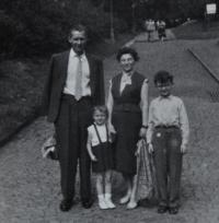 Irena Ondruchová with her family at a trip in Prague in 1959