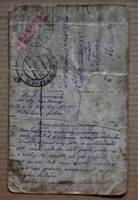 Legionářská pohlednice, kterou poslal svým rodičům otec Ireny Ondruchové Pavel Šimeček