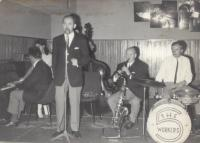 """With the band Radnice (""""Townhall"""") in Litvínov in 1970s"""