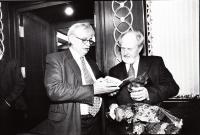 with J. Dienstbier, 1999, birthday party of Jicinsky