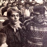 vlevo Tomáš Šponar, na demonstraci k 20. výročí okupace 1988, část fotografie, která vyšla na titulní straně časopisu Time