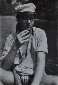 Jan Král na řece Jihlavě / asi 1984