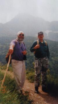 Joža Borsik (vlevo), sestup z Belianských Tater, 1995
