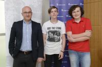David Binar s Filipem Klímou a Janem Petránským na závěrečné prezentaci projektu Příběhy našich sousedů ve Veletržním paláci
