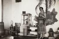 Marie Tlapáková, mother, in the flat at Rašínovo nábřeží, 1937/38