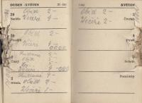 Father´s diary with traces left by shooting