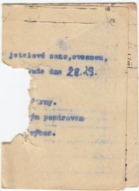 Document with traces left by shooting