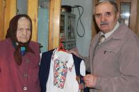 Marie Sergijivna Cigankova and chief of War Veterans Association in Dubno
