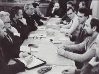 Eduard (right) during a meeting with representatives of OV KSČ, Teplice, 1989