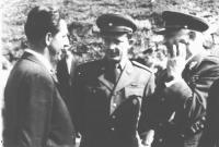 General L Svoboda (right) with a friend of Bindzar Petr Gauner (in the middle) in 1954 in Dukla pass